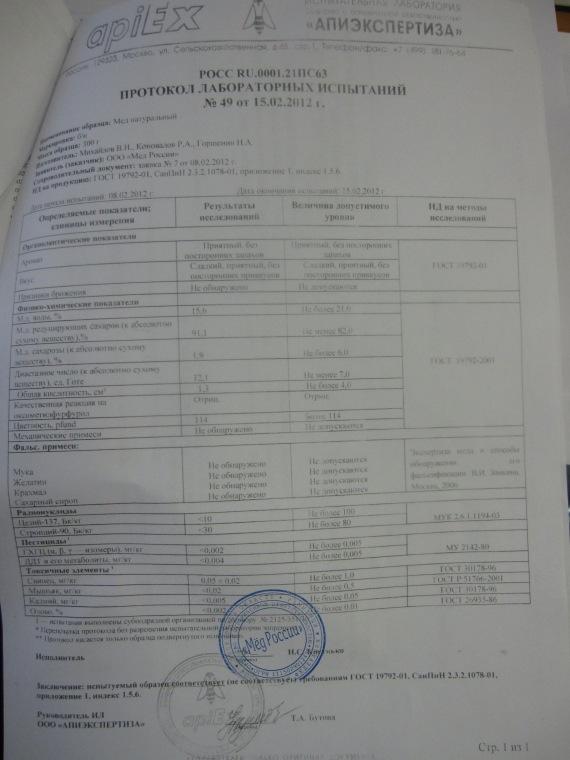 Certificate - Lab Diagnosis berkaitan intipati madu-madu yang diambil.